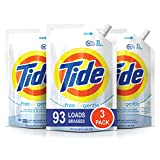 Tide Free and Gentle HE Laundry Detergent, 3 Pack of 48 oz. Pouches, Unscented and Hypoallergenic for Sensitive Skin, 93 Loads
