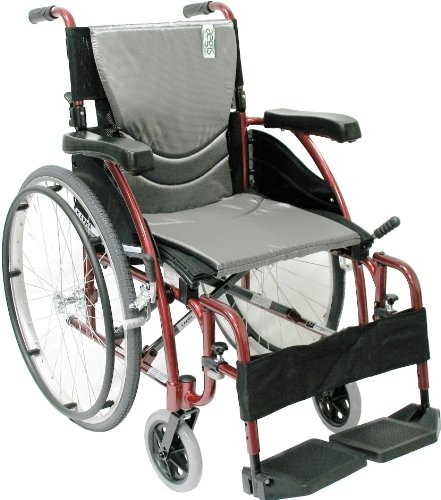 Karman Healthcare S-115 Ergonomic Ultra Lightweight Manual Wheelchair, Rose Red, 18' Seat Width
