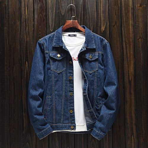 HJuyYuah Men's Autumn Winter Casual Long Sleeve Turn-Down Collar Solid Denim Jacket Coat deal 50% off 51VHAImi5wL
