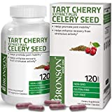 Bronson Tart Cherry Extract + Celery Seed Capsules Non-GMO Gluten Free and Soy Free Formula, 120 Count