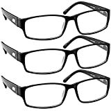 Reading Glasses 0.50 Black 3 Pack Always Have a Timeless Look, Crystal Clear Vision, Comfort Fit with Sure-Flex Spring Hinge Arms & Dura-Tight Screws