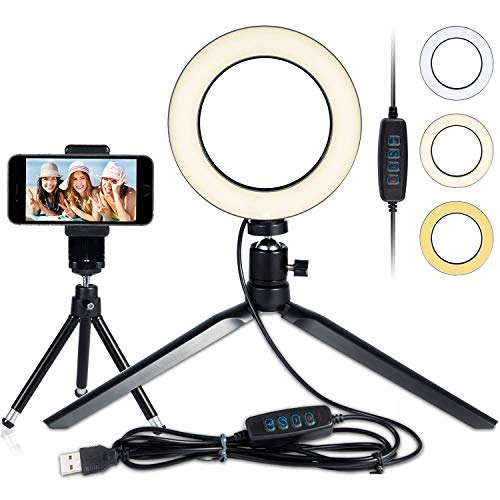 LED Ring Light 6″ with Tripod Stand for YouTube Video and Makeup, Mini LED Camera Light with Cell Phone Holder Desktop LED Lamp with 3 Light Modes & 11 Brightness Level