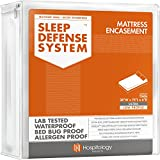 HOSPITOLOGY PRODUCTS Sleep Defense System - PREMIUM Zippered Mattress Encasement & Hypoallergenic Protector - Waterproof - Bed Bug - Dust Mite Proof - 60' x 80', Queen - Standard 12'