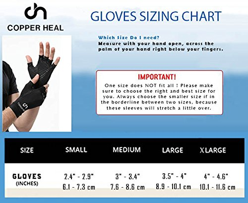 COPPER HEAL Arthritis Compression Gloves – Best Medical Copper Glove Guaranteed to Work for Rheumatoid Arthritis, Carpal Tunnel, RSI Osteoarthritis & Tendonitis Open in Fingers Fingerless Fit Size M deal 50% off 51VKOOngFYL