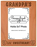 Personalized Gifts Grandpa's Lil Sweetheart Baby Granddaughter Natural Wood Engraved 5x7 Portrait Picture Frame Wood