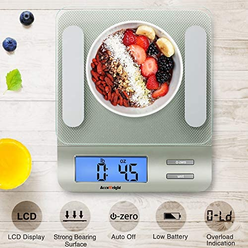 Accuweight 207 Digital Kitchen Multifunction Food Scale for Cooking with Large Back-lit LCD Display,Easy to Clean with Precision Measuring,Tempered Glass (Silver) 4