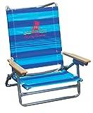 Tommy Bahama 5 Position Classic Lay Flat Beach Chair Blue Stripe