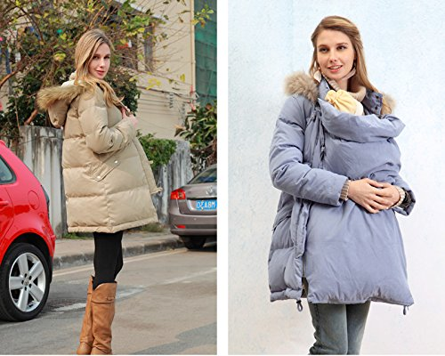 4adce553c9a9 Sweet Mommy Maternity and Mother s Down Coat with baby wearing pouch ...