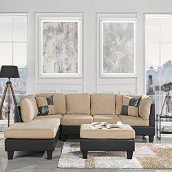 Casa Andrea Modern 3-Piece Microfiber and Faux Leather Sofa and Ottoman Set, 102″ W (Beige)