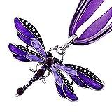 Eyourlife Retro Dragonfly Charms Necklace Chain Rhinestone Inlay Gem tone Pendant Silver Purple