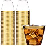 100 Gold Rimmed Plastic Cups   9 Oz.   Wedding Cups   Gold Rim Plastic Cups   Wedding Disposable Cups   Clear Heavy Duty Plastic Tumblers   by Syllux