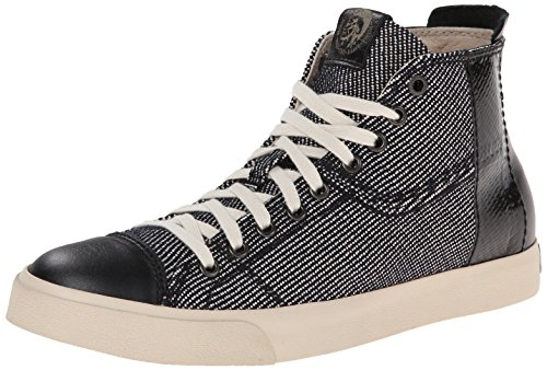 51VR22MgT2L High-top sneaker with cap toe and contrasting reptile-texture taping at side Lace-up Logo patches at tongue and heel