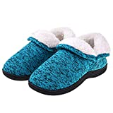 Women Ankle High Slippers Plush Fleece House Shoes Boots Warm Cotton Cable Knit Anti Skid Indoor Outdoor Booties Blue