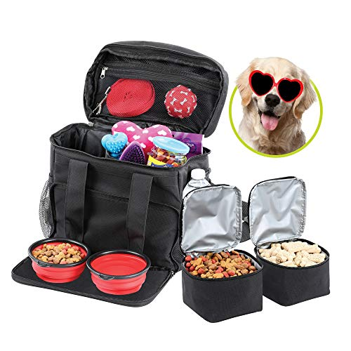 Bundaloo Dog Travel Bag Accessories Supplies Organizer 5-Piece Set with Shoulder Strap | 2 Lined Pet Food Containers, 2 Collapsible Feeding Bowls. Everyday Dogs Essentials 1
