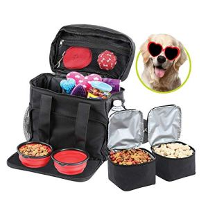 Bundaloo Dog Travel Bag Accessories Supplies Organizer 5-Piece Set with Shoulder Strap | 2 Lined Pet Food Containers, 2 Collapsible Feeding Bowls. Everyday Dogs Essentials