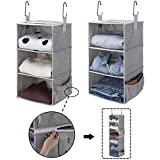 StorageWorks 2PCS 3-Shelf Hanging Closet Organizers, Collapsible Closet Hanging Shelves for Clothes and Shoes, Polyester Canvas, Gray, 12'x12'x21'
