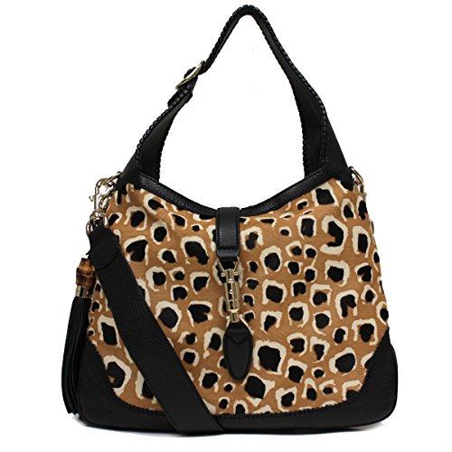 "51VTp9mM78L Gucci Ponyhair Leopard Print New Jackie Shoulder Handbag 246907 Single adjustable strap with 8""drop and detachable shoulder strap with 18""drop Interior smart phone and zip pockets, bamboo and tassel detail."