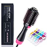 SanMoz One Step Hair Dryer & Styler & Volumizer - Upgrade Feature Anti-scald Negative Ion Hot Air Brush Straightener, Include 5pcs Plastic Alligator Hair Clips.