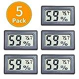 Accper Mini Hygrometer Thermometer Digital Indoor Humidity Gauge Moisture Meter with Temperature Monitor Sensor Fahrenheit (℉) for Guitar Incubators Reptile and Humidors 5 Pack