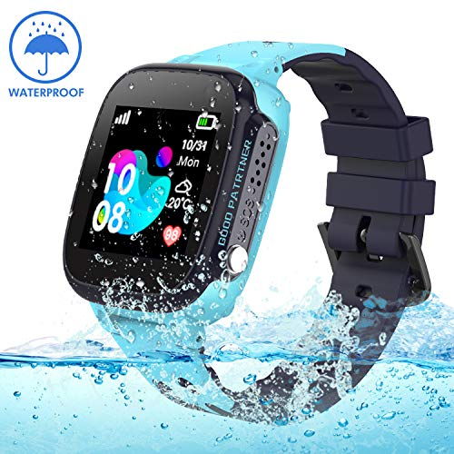 Kids smartwatch with GPS Tracker, Smart Watch Phone Compatible iOS Android for Children 3-12 Girls Boys SOS Call Remote Camera Two Way Call Touch Screen Games Christmas Birthday