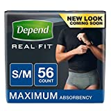 Depend Real Fit Incontinence Briefs for Men, Small/Medium (Pack of 56)