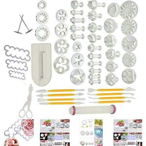 Smart Baking 52 Pcs Fondant Cake Decorating Cutter Supplies Tools, Sugarcraft Plunger Mould Accessories, Fondant Smoother + 3D Rose Petal Cutter 51VZOIgsorL