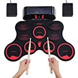 ammoon Electronic Roll-up Drum Set Digital MIDI Drum Kit 9 Silicon Durm Pads Built-in Stereo...