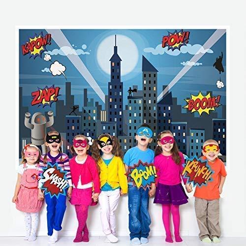 Superhero Party Supplies Kit With 7ft Superhero Backdrop 28