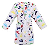 Toddler Hooded Flannel Fleece Bathrobe Girls Robe with Side Pockets,Cars,S