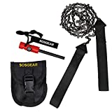 SOS Gear Pocket Chainsaw and Fire Starter - Survival Hand Saw in Embroidered Pouch, Firestarter with Built in Compass & Whistle for Camping, Hunting & Fishing - Black Straps, 36' Chain