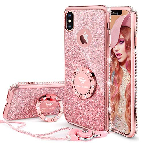 new style 4996e dec5b OCYCLONE iPhone Xs Max Case for Girl Women, Cute Girly Glitter Diamond  Rhinestone Bumper with Ring Kickstand Sparkly Pink Protective Phone Case  for ...