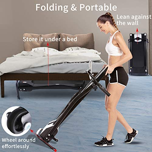 Electric Folding Treadmill for Small Spaces, Ultra-Quiet Portable Exercise Running Machine for Home Workout with 12 Programs & LCD Screen 5