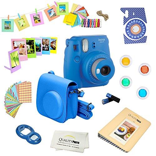 Fujifilm Instax Mini 9 Camera + 14 PC Instax Accessories kit Bundle, Includes; Instax Case + Album + Frames & Stickers + Lens Filters + More