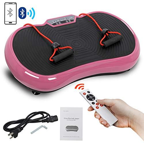 SUPER DEAL Crazy Work Out Fit Full Body Vibration Platform Massage Machine Fitness W/Bluetooth, Pink