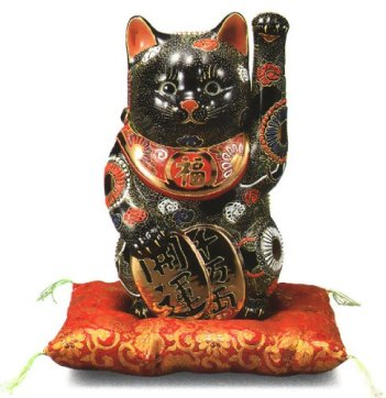 No. 8 oval beckoning cat black Sheng [ Kutani ]