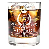 1979 40th Birthday Gifts for Men and Women Premium Whiskey Glasses - Vintage Funny 40 Years Gifts Ideas for Dad, Mom, Husband, Wife - Anniversary Gift, Party Favors, Decorations for Him or Her - 11oz