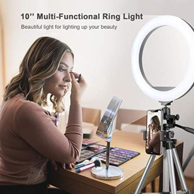 ODOM-10-Selfie-Ring-Light-with-Stand-for-Cell-Phone--Dimmable-LED-Camera-Makeup-Light-for-YouTube-Tiktok-Video-Vlog-Live-Streaming--3-Light-Mode-9-Brightness-Levels-Ringlight-for-iPhone-Android