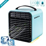 Mikikin Portable Air Conditioner Cooler Fan, Personal Space Air Cooler, Humidifier, Purifier 3 in 1 Evaporative Cooler, USB Rechargeable Mini Cooling Desktop Fan with LED Light, 3 Speeds