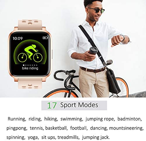Pard 2020 Smart Watch, Full Touch Fitness Tracker with Dynamic Heart Rate Monitor, IP68 Waterforoof Sport Wristband for Men Women Kids, Pink 6