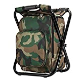 Upgrade Large Size Ultralight Backpack Cooler Chair, Portable & Folding Camping Chair Stool Backpack with Cooler Insulated Picnic Bag, Hiking Camouflage Fishing Backpack Chair, Perfect for Beach BBQ