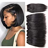 Brazilian Straight Hair Bundles with Closure 100% Unprocessed Virgin Human Hair Weave 4 bundles Deals with 4x4 Top Lace Closure Human Hair Weft Extension Natural Black Color (8 8 8 8 closure 8)