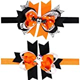 Looching pack of 2 Halloween Layered Pumpkin Bowknot Costume Hair Bow Headband for Baby Toddler Girls Newborn and Infant Headbands