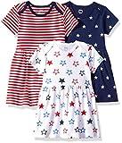 Amazon Essentials Baby Girls 3-Pack Dress, Americana, 24M