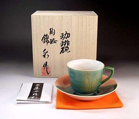 Japanese traditional crafts | Arita - MidoriAyaçÖ‹àAya auspicious Fuji crane picture coffee cup | potter Fujii NishikiAya