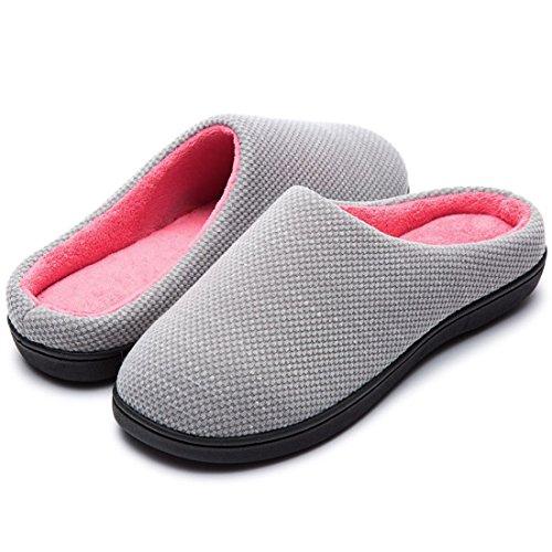 RockDove Women's Original Two-Tone Memory Foam Slipper, Size 7-8 US Women, Gray/Pink