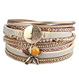 AZORA Leather Wrap Bracelets for Women Gold Metal Starfish Crystal Cuff Bracelet with Magnetic Buckle Casual Bohemian Wrist Bangle Gift for Ladies Teen Girls Sister Mum Prime