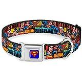 "Buckle-Down Seatbelt Buckle Dog Collar - SUPERMAN Action Blocks Red/Blue - 1"" Wide - Fits 11-17"" Neck - Medium"