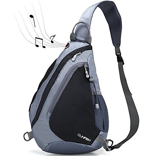 Sling Backpack, Chest Bag CLINFISH Water Resistant Nylon Shoulder Pack Small Outdoor Lightweight Crossbody Daypack for Hiking Camping Fishing Cycling Climbing for Men & Women (Gray)