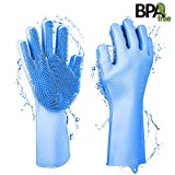 Magic Silicone Dishwashing Gloves, Cleaning Gloves with wash Scrubber Reusable Scrub Heat Resistant Silicone Gloves for Washing Kitchen,Dishwashing, Bathroom, Car, Pet and More (Blue 1 Pair)