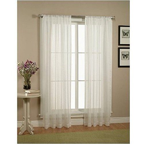 "WPM 2 Piece Beautiful Sheer Window Elegance Curtains/drape/panels/treatment 60""w X 84""l (White)"